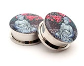 Buddha STYLE 1 Picture Plugs gauges - 16g, 14g, 12g, 10g, 8g, 6g, 4g, 2g, 0g, 00g, 7/16, 1/2, 9/16, 5/8, 3/4, 7/8, 1 inch