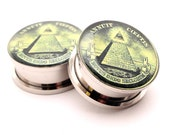 All Seeing Eye Picture Plugs gauges - 16g, 14g, 12g, 10g, 8g, 6g, 4g, 2g, 0g, 00g, 7/16, 1/2, 9/16, 5/8, 3/4, 7/8, 1 inch