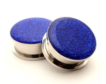 Screw On Plugs - Sapphire Blue Glitter Plugs gauges - 16g, 14g, 12g, 10g, 8g, 6g, 4g, 2g, 0g, 00g, 7/16, 1/2, 9/16, 5/8, 3/4, 7/8, 1 inch