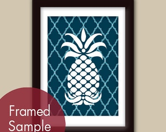 Pineapple (series B) Art Print (Navy with Altantic Blue Stripes) Modern Vintage Inspired Kitchen Prints (Customizable Colors)