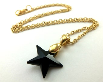 Crystal Star Necklace Black Crystal Jewelry Black Gold Necklace Celestial Star Necklace