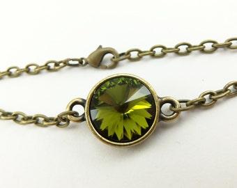 Olive Green Bracelet Antiqued Brass Chain Bracelet Olive Green Crystal Bracelet Modern
