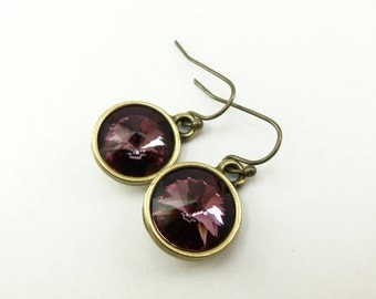 Mauve Earrings Dark Pink Brass Jewelry Crystal Earrings Dangle Earrings Antiqued Pink