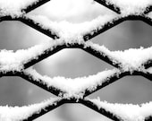 Fresh Snow, Fence,  Winter Scene, Fine Art Photography, Black and White Art,  Pattern, 8X10 Mat, Ready to Frame, Small Wall Art