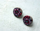Gray Pink Flora Small Round Wooden Hand painted stud pierced earrings