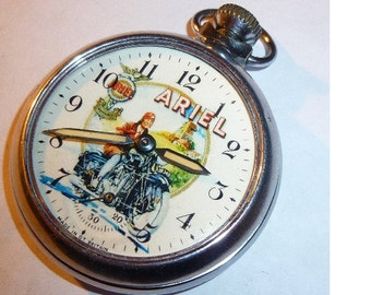 Vintage ARIEL MOTORCYCLES advertising dial pocket watch