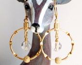 Golden Hydrogen Atom Earrings, Chemistry Earrings, Science Earrings, Bohr Atom Model Dangle Earrings, Science Geek or Teacher Earrings