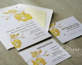 Orchid Watercolor Wedding Invitation in Yellow, destination wedding, tropical wedding, tropical flower