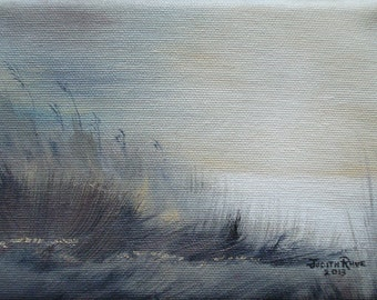 Oil painting beach painting seascape ocean landscape sand sea nature grey gray tonal neutral sunset sunrise 5x7 - Sea Oats