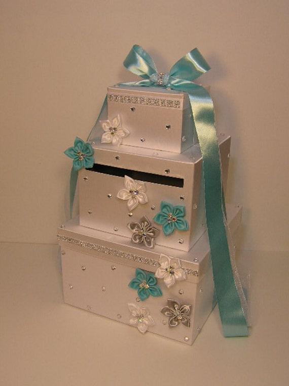 Wedding Gift Card Box Diy : Wedding Card Box White and Blue /Silver Gift Card Box Money Card Box ...