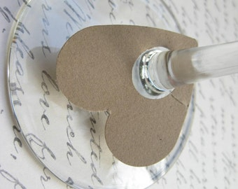 100 Brown Paper Heart Wine Glass Tags Wedding Wine Tag