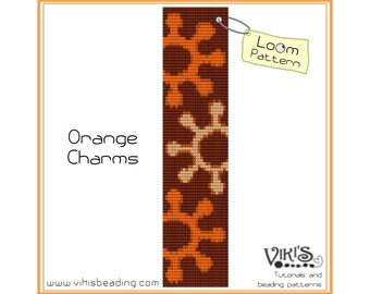 Bead Loom Pattern: Orange Charms - INSTANT DOWNLOAD pdf -Discount codes are available - bl251