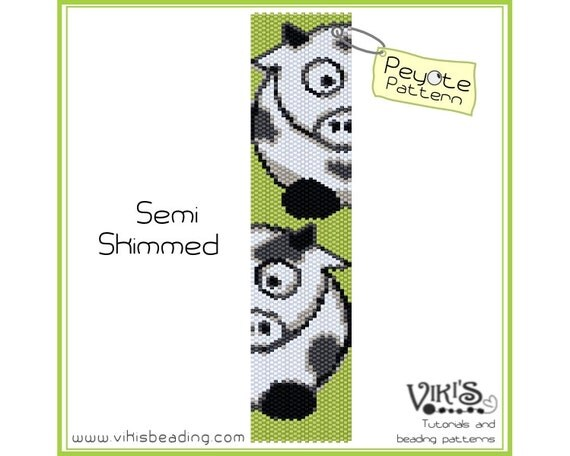 Semi Skimmed - Peyote Pattern for cuff bracelet - Instant download pdf - bp196 / Special offer with voucher code