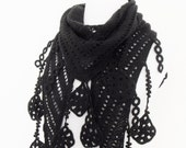Black Mohair knitting Scarf Shawl -Lace Edge-Ready for shipping
