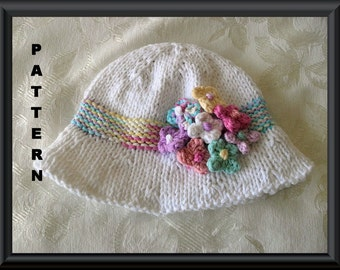 Knitted Hat Pattern Baby Hat Pattern Instant Download Hat Pattern  Children Clothing Baby Hat with Flower: WILDFLOWERS BRIMMED HAT