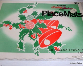 Vintage Christmas Placemats, Holiday Hostess Paper Placemats,  Retro Christmas Kitchen Decor, Table Mats  (36-13)