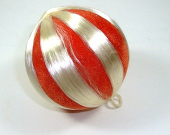 Mid Century Flocked Christmas Tree Ball Ornament, Satin and Flocked,  Red and White Retro Holiday Decor   (305-13)