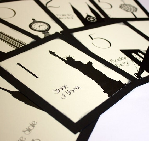 NYC Table Number Wedding Decor Sign New York Icons Landmarks Silhouette City Manhattan Single Sample