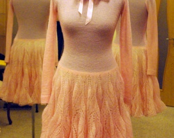 Dress Elegant pink knitted dress ( free shiping)