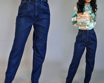 Vintage High Waisted Jeans 80s Chic Jeans Taper Leg Pleated High Waist Jeans Vintage Mom Jeans Dark Denim Jeans / Waist 26