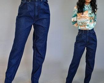 80s vintage high waisted jeans / Dark Wash Pleated Denim Jeans / Harem Fit CHIC Vintage Blue Jeans skinny taper leg / 26 Waist