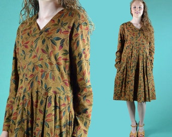 Vintage 80s Dress / Oversized Fit Babydoll Empire Dress / Western Grunge Floral Print Full Skirt Dress M / L