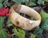 Wood Bangle Bracelet - Eco-friendly Ohio Crabapple Wood Wooden Bangle Bracelet (Size M) - Natural Jewelry