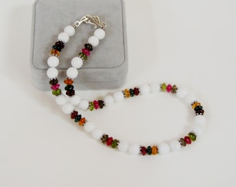 Jewel Toned Crackle Beads with White Jade  Beaded Necklace,  NB101