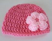 Newborn Girl Beanie, Baby Girl Hat with Flower, Toddler Beanie, Pink Crochet Hat