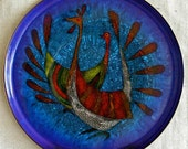 Large Round Enamel on Copper Plate -  by Miguel Pineda