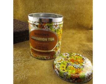 Bostons Cinnamon Tea Multicolored Flowers Vintage Tea Tin