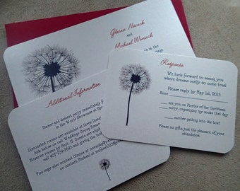 Dandelion wedding invitation, purple, silver, Red, black Ivory, invitation, nature wedding invitation, flower wedding invitation