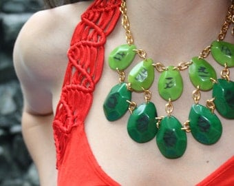 Envy, Green faceted tagua necklace drops with gold chain by Allie only one available