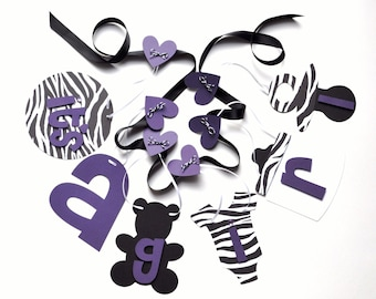 Zebra baby shower decorations purple and black it's a girl banner by ParkersPrints on Etsy
