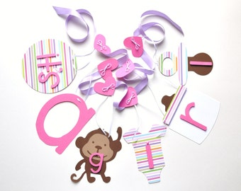 Purple and pink baby shower decorations monkey it's a girl banner by ParkersPrints on Etsy