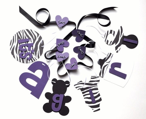 Zebra baby shower decorations purple and black it 39 s a girl for It s a girl dekoration