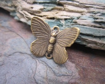 4 PC Antique Brass Butterfly Connector Charms