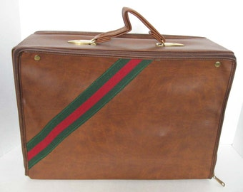 Vintage Brown Travel Fold Away Carry Case or Luggage