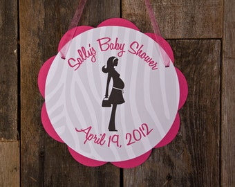 Baby Shower Door Sign - Baby Shower Decorations - Welcome Sign in Hot Pink & Zebra Mom to Be Theme