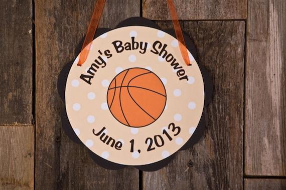 Items Similar To Basketball Theme Door Hanger   Basketball Baby Shower  Decorations In Orange U0026 Black On Etsy