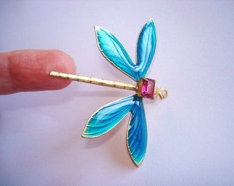 Dragonfly Jewelry Turquoise Crystal Stone Brooch