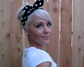 Vintage Pin up Rockabilly Dolly Bow Twist Tie Headband Black & White Polka Dot Fabric Headscarf Adjustable Hair Band Head Wrap Accessories