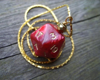 crimson red gold numbers D20 dice pendant dice jewelry oxblood dice necklace bloody red dice faceted polyhedral dice