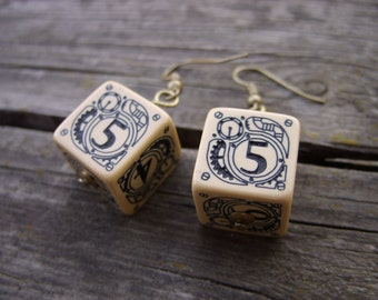D6 steampunk dice earrings dice jewelry dnd dungeons and dragons toothed bar steam punk earrings dice jewelry pathfinder earrings qworkshop