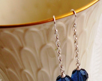 Sterling Silver Wire Wrapped Sparkly Blue Crystals with Shiny Silver Spacers Dangle Earrings