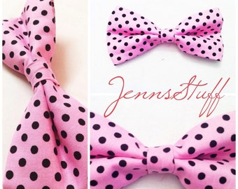 Large Hair Bow - Pink with Black Polka Dots