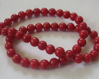 Jade, Mountain Gemstone Round beads 1 strand RED (dyed) jade beads Available in 4mm, 6mm, 8mm and 10mm