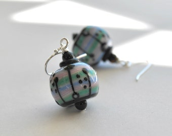 Purple Pink Glass Earrings, Lampwork Earrings, Striped Earrings, Pastel Earrings, Dangle Earrings