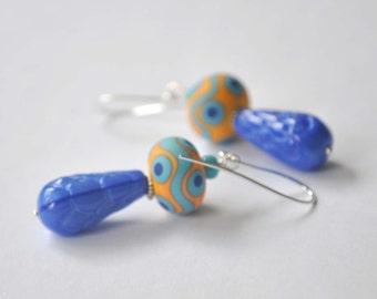Orange Wave Glass Earrings - Lampwork Glass Dangle Earrings