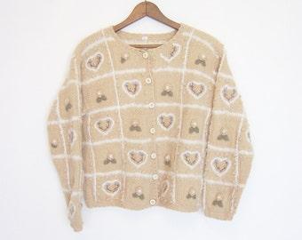 vintage slouchy nobby shrunken cardigan sweater